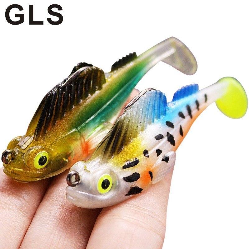 GLS marka atlama balık çantası kurşun balık Luya yumuşak yem Anti asılı alt 9 renkler yapay gerçekçi 3D göz balıkçılık Bait