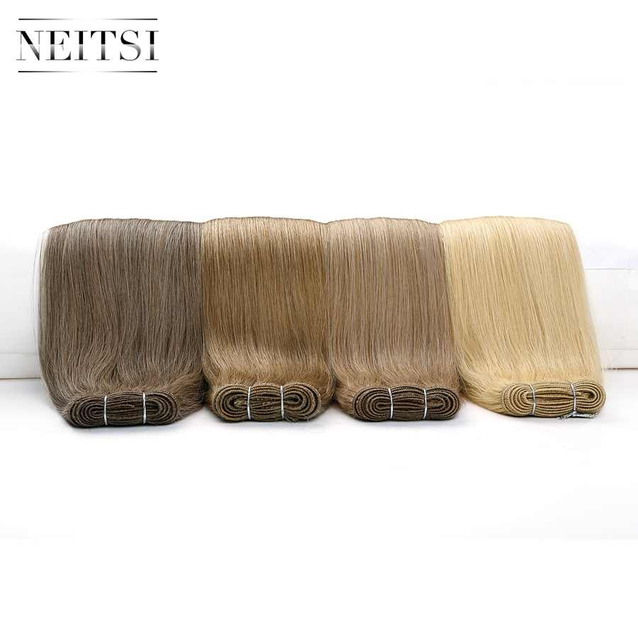 "Neitsi כפול נמשך רמי שיער טבעי ערב הרחבות 20 ""24"" 100 גרם\יחידה שחור בלונד שיער אמיתי ישר חבילות מהיר משלוח"