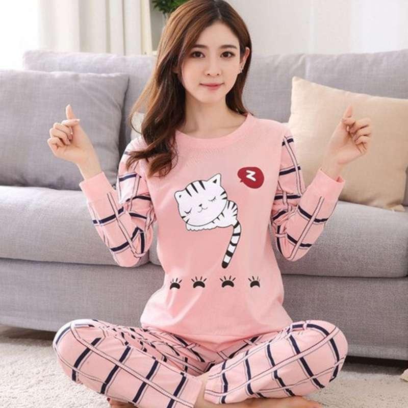 Women Pajamas Set Sweet Cartoon Print Ladies Long-sleeved Trousers Leisure Wear Set Large Size Comfortable Pajamas Suit