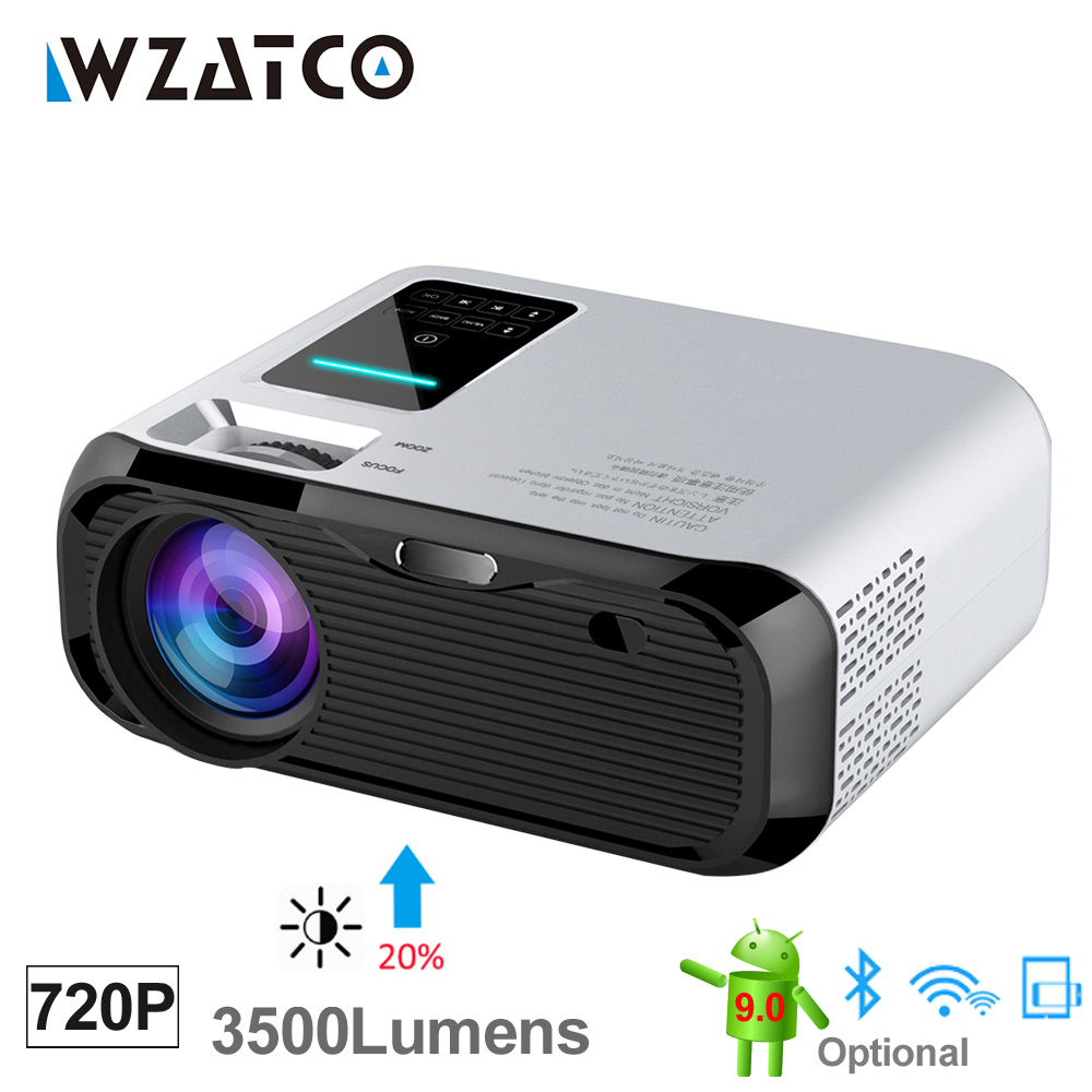 WZATCO E500 3500lumens Wifi Android 9.0 Smart Mini Portable LED Projector Multimedia home Beamer Proyector support Full HD 1080P