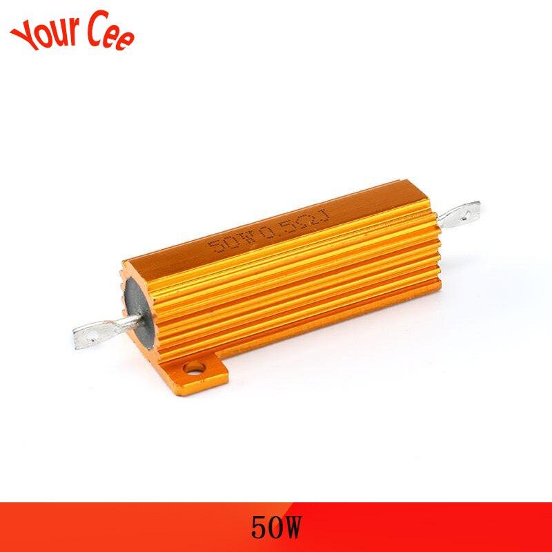 50w carga de resistencia//alambre resistencia 0,5 R//0.5 Ohm-Carcasa Aluminio-nuevo