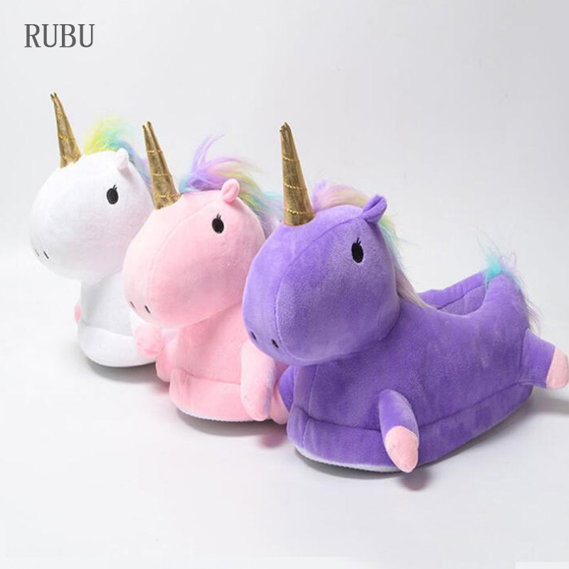 Lovely Unicorn Home Slippers Winter Kids Shoes For Boys Girls Slippers Cartoon Animal Claw Children Kigurumi Licorne White Shoes