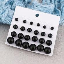 Kit de brincos de pérolas femininos, 12 pares, joias para mulheres, brincos com tarraxas nas cores preto e bege, simulado com brincos de pérola, para bijuterias