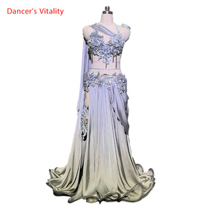 Image 1 - Customized Belly Dance Ribbon Bra Applique Skirt Women Oriental Indian Drum Dance Competition Performance Costume Stage We