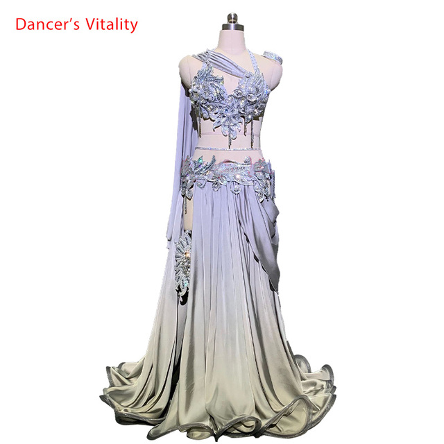 Customized Belly Dance Ribbon Bra Applique Skirt Women Oriental Indian Drum Dance Competition Performance Costume Stage We