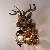 Fss decorações de natal para casa veado cabeça lâmpada parede retro antler quarto lâmpadas cabeceira barra sala estar varanda corredor luz parede Luminárias de parede     -