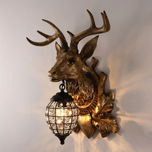 Vintage Deer Head Wall Lamp Nordic Retro Antler Bedroom Bedside Bar Living Room Porch Aisle Lights Light Home Lighting
