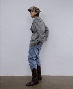 Image 3 - CHEERART Wool Blazer Designer Coat Women Blazers And Jackets Grey Patchwork Ladies Long Blazers Fashion Coat Autumn 2019