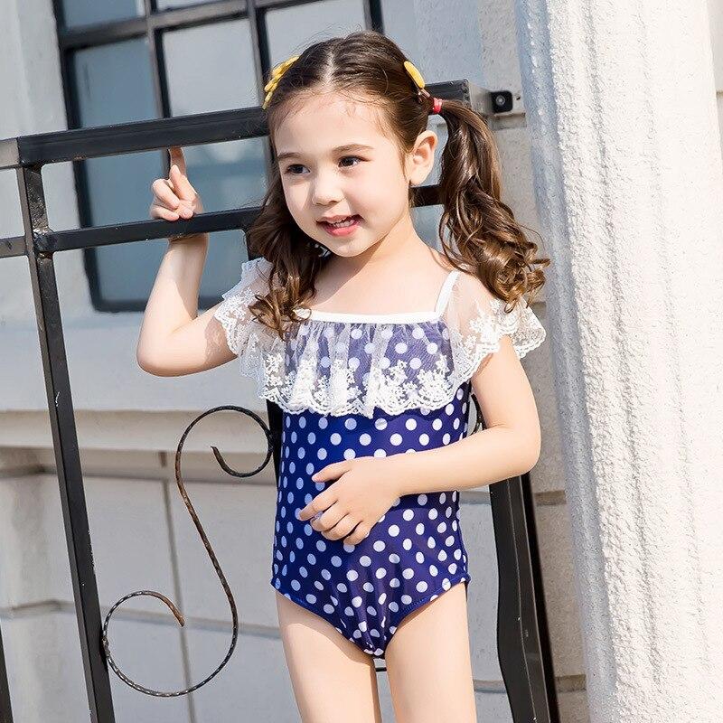 New Style CHILDREN'S Swimwear Hipster Cute Polka Dot Girls Triangular One-piece Swimming Suit Baby Hot Springs Swimwear