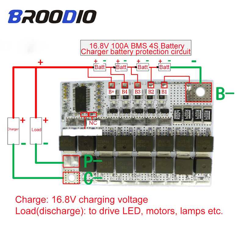 BMS 4S 16.8V 100A 18650 Li-ion Li-POLYMER Lithium POLYMER LiMnO Battery Protection Board 4S BMS Charging Circuit With Balanced