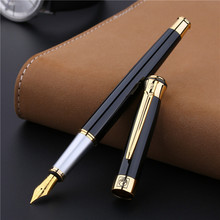 1Pcs Hot selling picasso 903 luxury fountain pen golden blue office gift box high-end ink pen 0.5mm nib picasso signature pen best sell free shipping picasso 903 luxury 0 5 ink business iridium pen metal brand gift calligraphy fountain pen