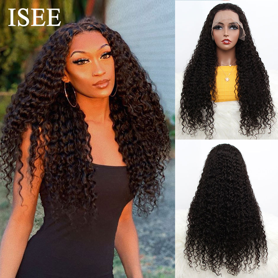 Brazilian Water Wave 360 Lace Frontal Wig 150% Density Lace Front Human Hair Wigs For Women ISEE HAIR Water Wave Lace Wigs