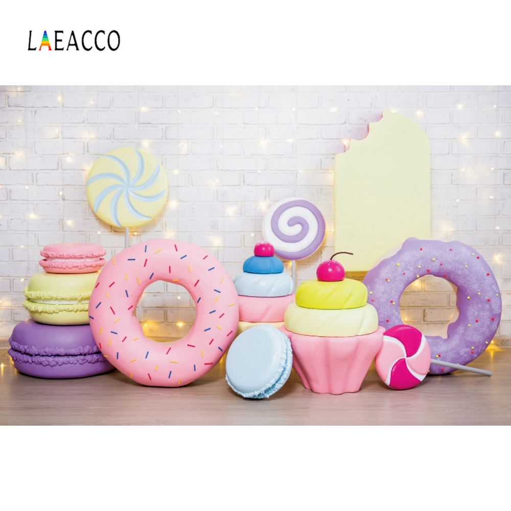 Laeacco Photographic Backdrops Donuts Candy Cakes Baby Shower Portrait  Vinyl Background Photography For Photophone Photo Studio