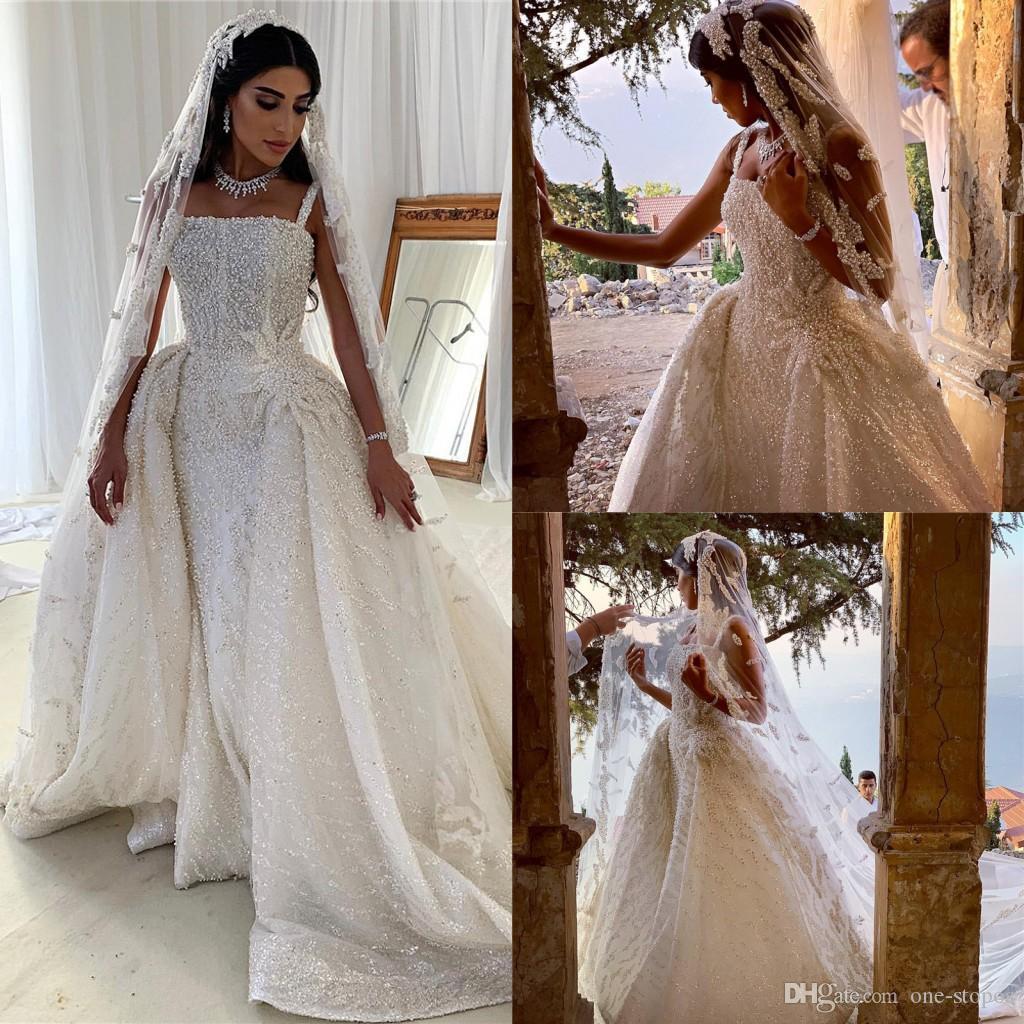 Arabic Luxury Mermaid Wedding Dresses Spaghetti Pearls Beaded Sheath Bridal Dresses Sparkly Wedding Gowns With Attached Train