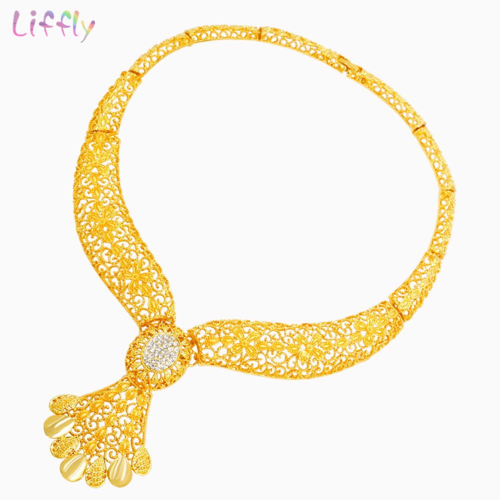 Classic Africa 24 Gold Jewelry Sets Crystal Necklace Bracelet Ring Luxury Wedding Bride Jewellery Fashion Earrings Accessories in Jewelry Sets from Jewelry Accessories