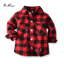 Tem doger/рубашка для маленьких мальчиков и девочек г. Весенние Рубашки для маленьких мальчиков высококачественные рубашки в клетку для маленьких девочек топы для новорожденных, блуза