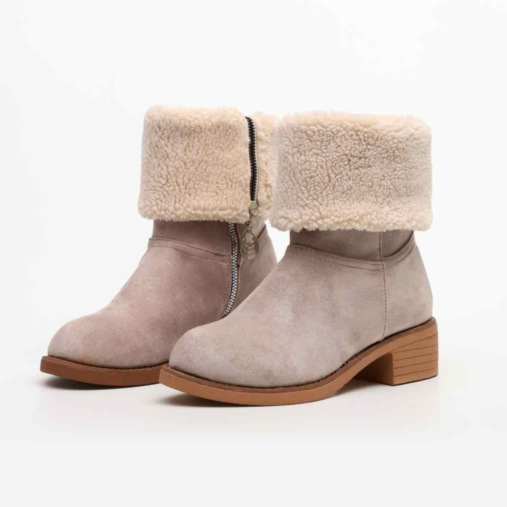Kar botu Için Kadın Kış Ayakkabı Topuklu Kışlık Botlar Ayak Bileği Sıcak Peluş Astarı Ayakkabı Kadın Çizmeler Artı Boyutu 44 Botas Mujer