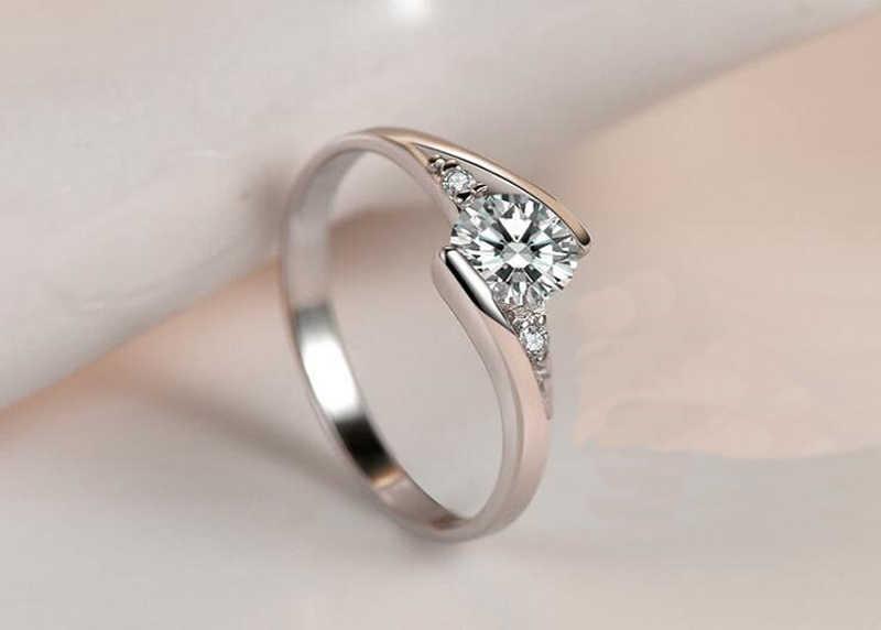 Yanhui 証明書 0.75ct ラボダイヤモンドの指輪パーティーエレガントなブライダルジュエリー 925 シルバー結婚婚約指輪 R036