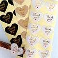 100 шт./лот Kawaii Thank you Red Heart design горячее тиснение, Уплотнительная наклейка, крафт-бумага, «сделай сам», подарок, украшение для выпечки