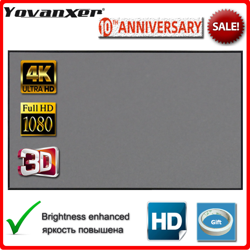 Yovanxer Projector Screen 72 84 100 120 130 133 Inch Reflective Fabric For LED DLP Projectors Enhance Brightness