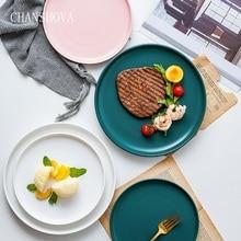 CHANSHOVA Matte Solid Color Glaze Ceramic Round Dinner Plate Pizza Steak Dish Dessert Tray Porcelain Kitchen Utensils H210