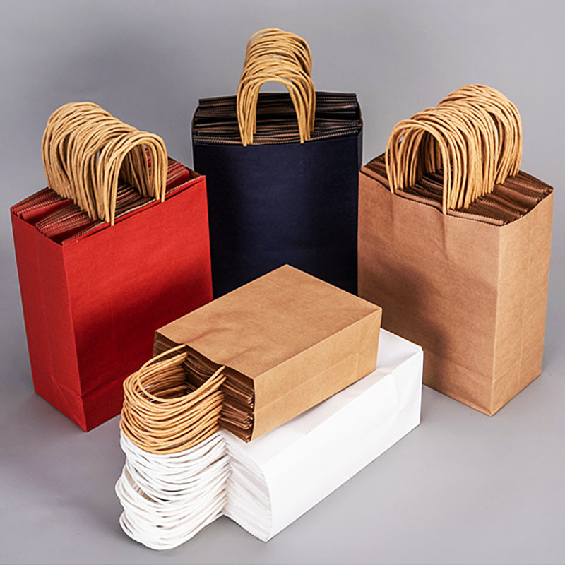 5pcs Kraft Paper Bag Tote Bag Solid Color Simple Literature And Art Small Fresh Back Gift Hand Carry Exquisite Custom