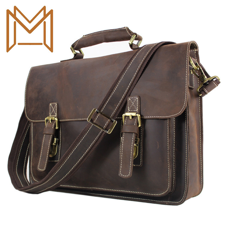Head Layer Cowhide Male Package Genuine Leather Man Briefcase Crazy Horsehide Single Shoulder Package Oblique Satchel Business