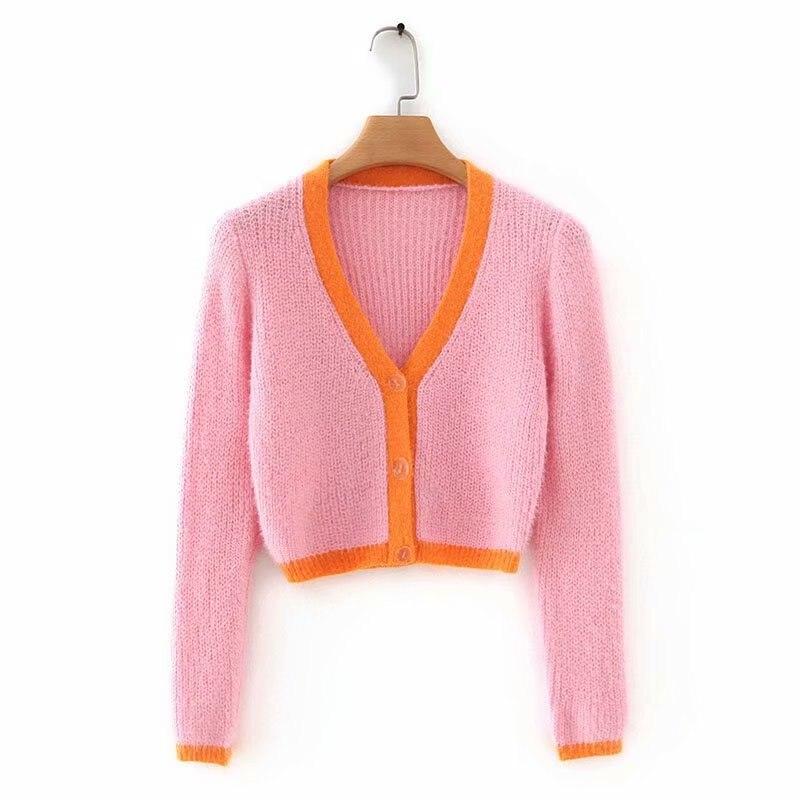 Pink cardigan womens sweaters korean crop sweater yellow autumn tops short sleeve v neck short cardigan mohair sweater fall 19 17
