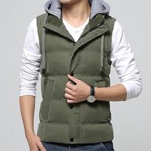 高品質の男性カジュアルなベストの冬コート帽子着脱式男性用ベストノースリーブジャケット固体ベスト男性 4 色