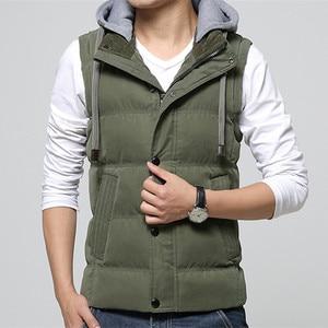 Image 1 - High Quality Men Casual Vest Winter Coat Hat Detachable Men Waistcoat Sleeveless Jacket Solid Outwear Vest Men 4 Colors