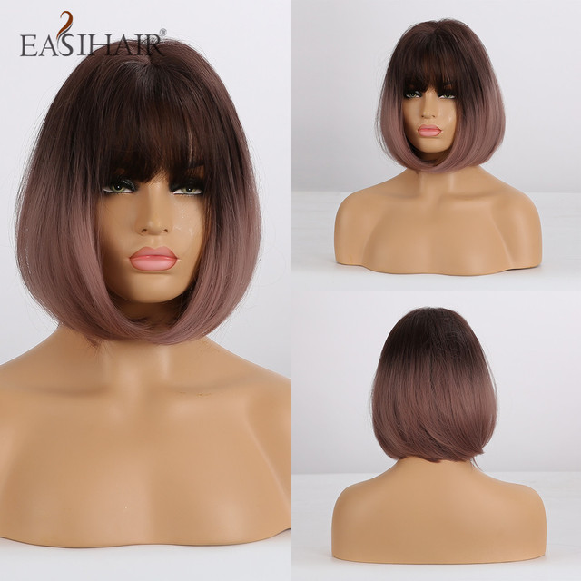 EASIHAIR pelucas sintéticas degradadas para mujer, pelo corto marrón, Bob, peluca de fibra de alta temperatura, Cosplay, cabello Natural diario, Bob