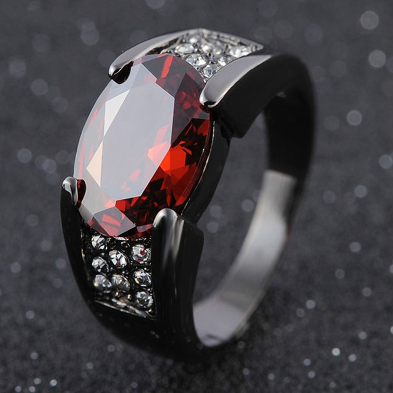 Black Gun Red Garnet Ring Inlaid Ring Party Wedding For Women Gift Anniversary Engagement Jewelery Best Listing 2018 Products