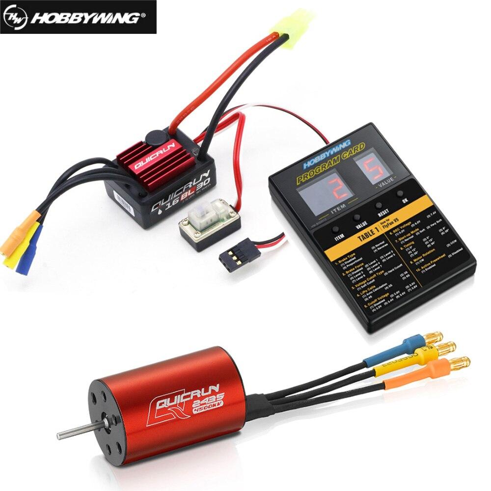 Controlador de velocidade sem escova hobbywing quicrun WP-16BL30, controlador rc original, esc + 2435 4500kv, motor + cartão de progresso, atacado