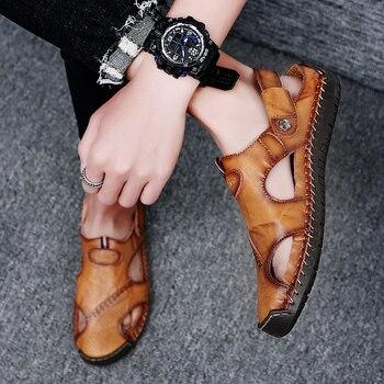 Mens Classic Split-Leather Sandals