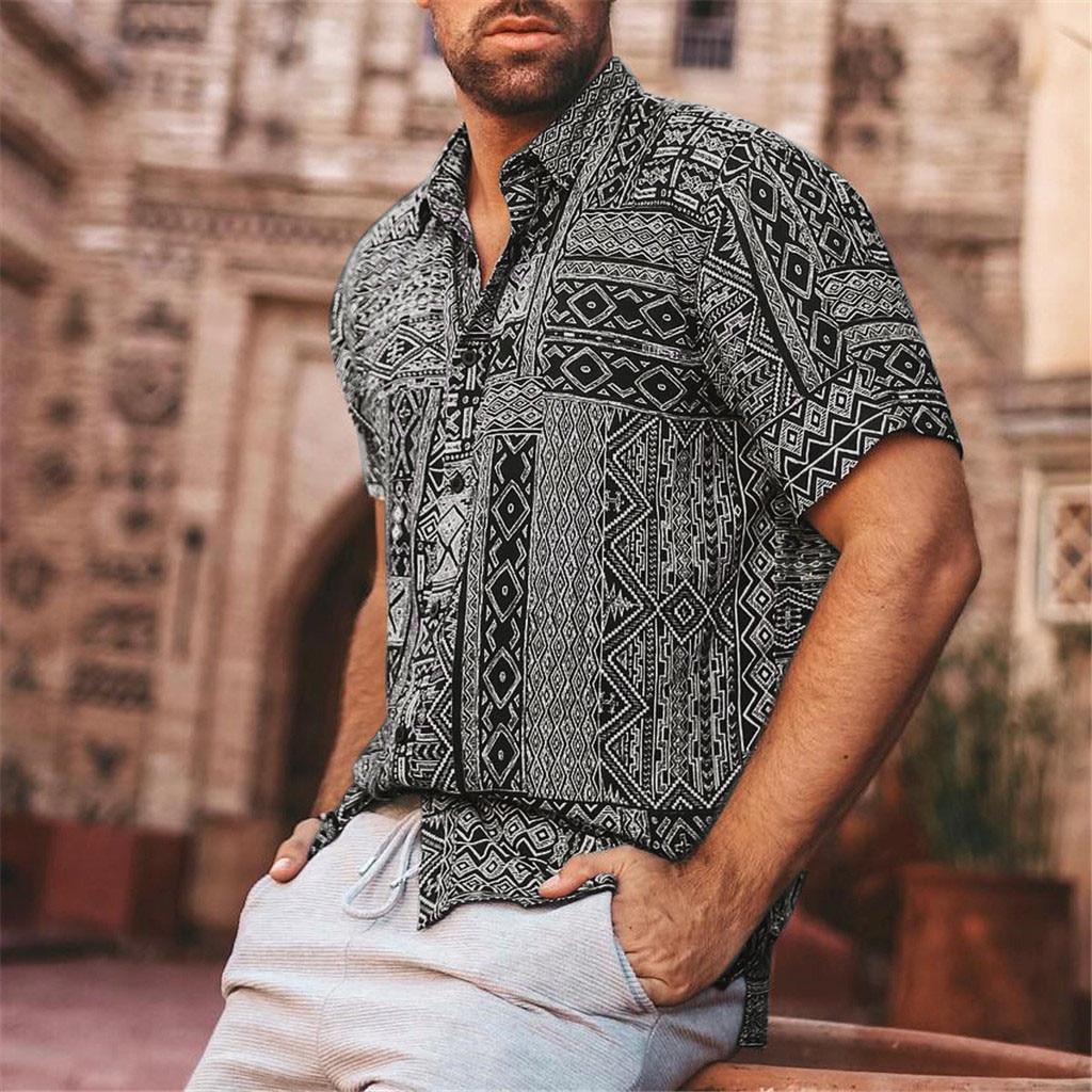 Men's Summer Shirt Fashion Casual Lapel Retro Print Short Sleeve Shirt Top Blouse Fashion Men's Casual Printed Floral