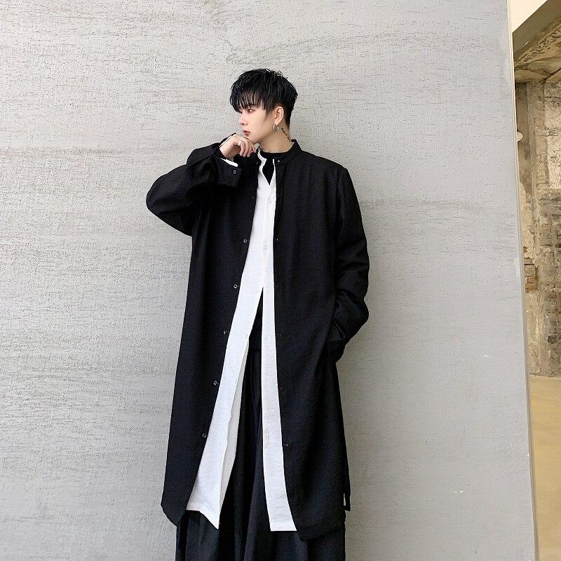 M-XL!Diablo Personality Tide Brand Men's Fashion Hair Stylist Trend Long Knee Men's Long-sleeved Shirt Loose Coat.