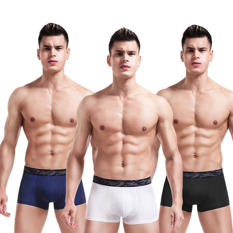 Solid Color Men's Underwear Ice Silk Underpants For Men Boxer Shorts Breathable Mid-rise U convex Sexy Male Panties Wholesale