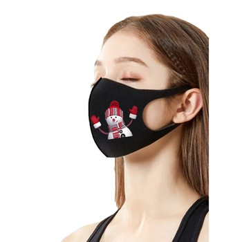 Cotton Black christmas Mask Mouth Face Mask Anti PM2.5 Dust Mouth Mask 1pc Activated Carbon Filter Mask Fabric Face Mask was image