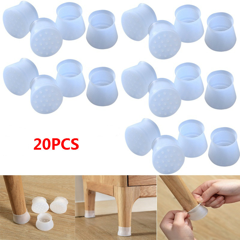 20PCS Furniture Table Chair Leg Floor Feet Cap Cover Protector Feet Pads Non-slip Table Chair Leg Caps Foot Protection Cover