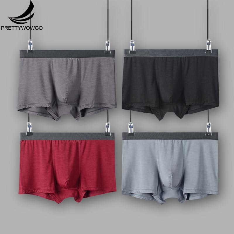 Prettywowgo New Arrival 2020 Solid Color Plus Size Comfortable Modal  Mens Underwear Boxers L XXL XXXL 4XL 5XL M001