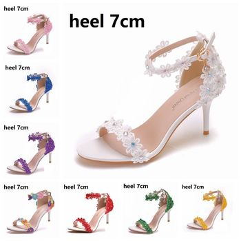 Crystal Queen Women Sandals Summer Shoes 5cm 7cm 9cm High Heels Lace Peep Toes Buckle Strap Woman Party White Pumps - discount item  30% OFF Women's Shoes
