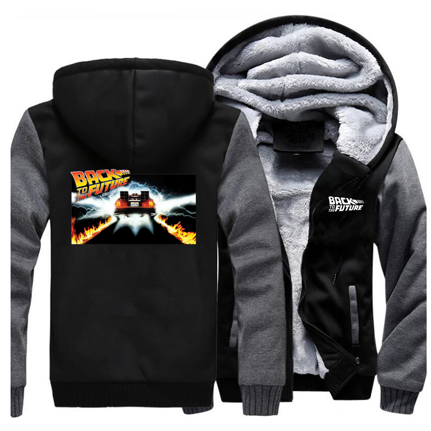 Back To The Future Jackets Men Sweatshirts Hoodies Winter Thick Zipper Fleece Warm Coats Sportswear Outwear Outdoor Plus Size
