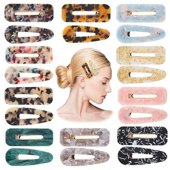 2pcs Vintage Hollow Hair Clip For Women Leopard Marble Textured Geometric Water Drop Duckbill Barrette Hairpin Accessories