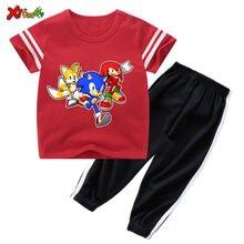 Детская летняя одежда для маленьких мальчиков мультяшная футболка