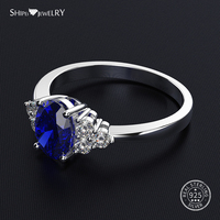 Shipei Coctail Ring 100% 925 Sterling Silver White Sapphire Ring for Women Silver 925 Jewelry Wedding Engagement Birthday Gift