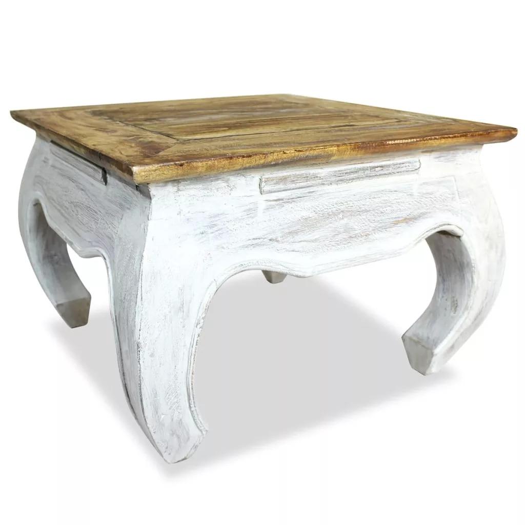 Приставной столик из массива восстановленного дерева 50x50x35 см Простой натуральный дизайн ручной работы приставные столики журнальные