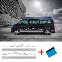 2 PCS Car Vinyl Side Stripes Stickers Auto Graphics Decals For Volkswagen T5 T6 Buick GL8