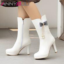 Ботинки женские до середины икры на высоком каблуке молнии размер