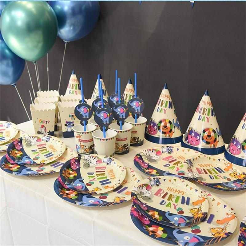 Детские вечерние принадлежности, набор из 6 человек, зоопарк, тематические праздничные товары для дня рождения, подарочный набор для