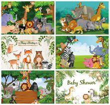 Laeacco fondos fotográficos de fiesta de jungla, fotofono, bosque, árboles, animales, bebé, recién nacido